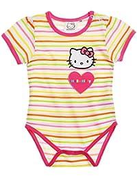Body bébé fille manches courtes Hello kitty Rayé blanc/rose de 3 à 24mois