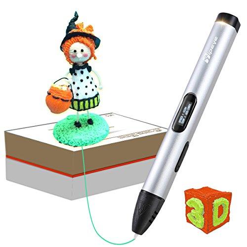 3D Stifte für Kinder und Erwachsene mit OLED Display und 3D Stift Filament PLA 1.75 mm frei, 3D Druckstift Set für Kritzelei, Basteln, Zeichnung, Kunstwerk(Normale Temperatur 3D Pen aus Flugzeugaluminium Silber)