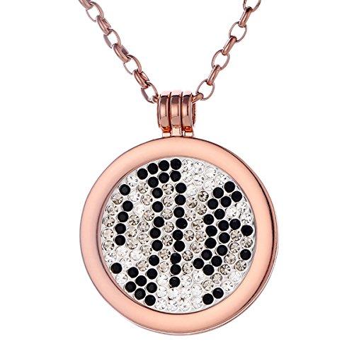 Morella Damen Halskette rosegold 70 cm Edelstahl und Anhänger mit Coin Zirkoniasteine Muster schwarz-silber-grau 33 mm im Schmuckbeutel