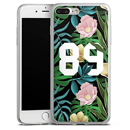 Apple iPhone 8 Slim Case Silikon Hülle Schutzhülle College 89 Blumen Silikon Slim Case transparent