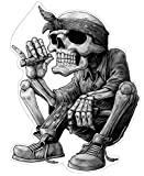 Gangster Hip-Hop Aufkleber Sticker Rap Musik Skelett Skull Schädel Rapper Cool Bandana Zigarre ca....