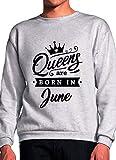 BlackMeow Queens are Born in June Grey Unisex Sweatshirt - Medium