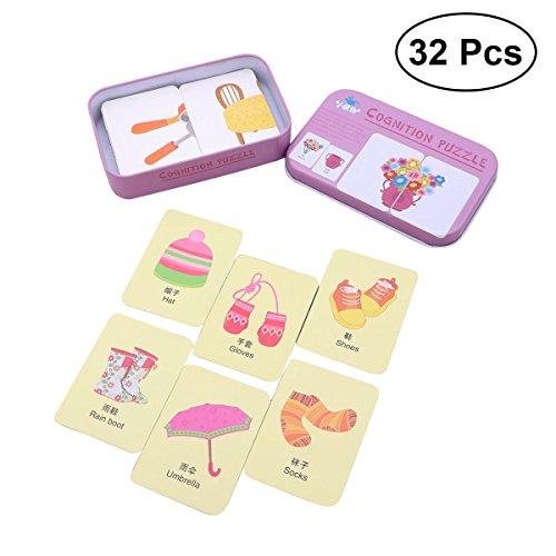 TOYMYTOY 32 Stücke Kinder Frühen Flash Karten Puzzle Erkenntnis Puzzle Karten Bildung Lernspielzeug mit Blechdose (Lebendiges Zubehör)