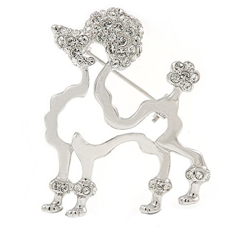 Rhodiniert Offene Cut Kristall Brosche Hund Pudel-35mm W