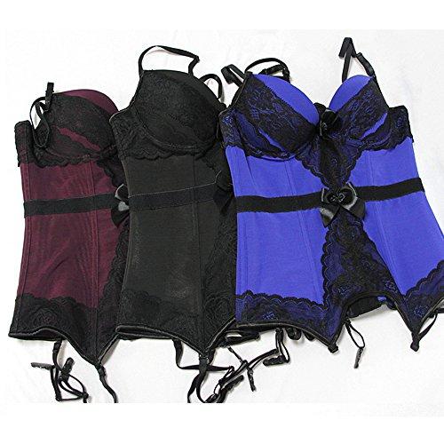 Moon Angle Damen Plus Size Overbust Bustier Korsett Taille Cincher Gürtel Set mit Strumpfband Gürtel Schwarz