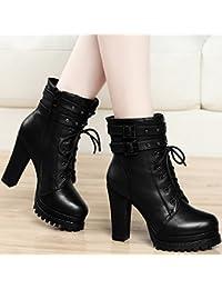b89c33cd4e8 SDKIR-Coreano y cashmere botas todas coinciden con botas de tacón alto con  gruesos en