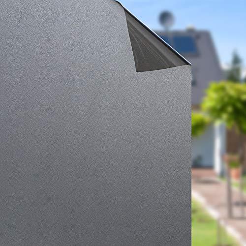 Rabbitgoo Sin Pegamento Pegatina Translúcida de Ventana Vinilo Decorativo Adherencia Electrostática Pegatina Deslustrada Color Negro 44.5x200CM
