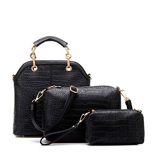 Einzelne Umhängetasche Handtasche Neue Dreiteilige Krokodil schwarz