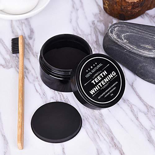 Blanqueamiento de dientes naturales, polvo de dientes de carbón de bambú activado negro + cepillo...