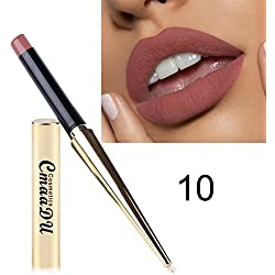 AMUSTER Le rouge à lèvres mat de couleur de citrouille de rouge à lèvres imperméable mangent l'humidité riche en vitamine E de la terre (J)