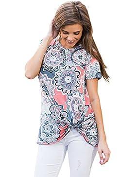 Camiseta de manga corta con estampado de bohemio para mujer, estilo casual, talla S