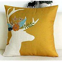 """Animal cabeza de ciervo y flores cintura manta funda de almohada cojín funda algodón lino Material decorativo 18""""cuadrado"""