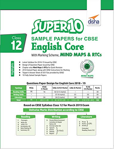 rs for CBSE Class 12 English Core with Marking Scheme, MINDMAPS & RTCs (English Edition) ()
