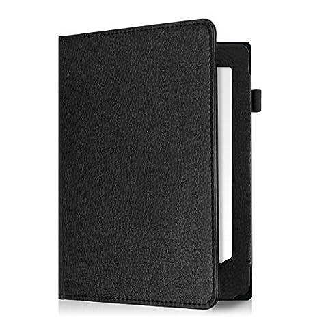 kwmobile Housse en cuir synthétique noble BOOK STYLE pour Kobo Aura H2O in noir