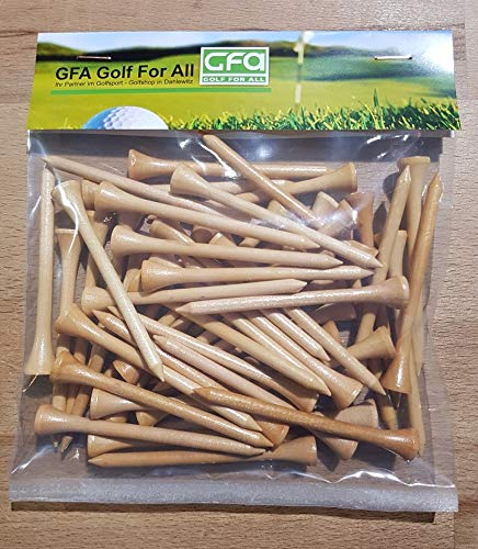 Golf-for-all - Natur Holz Tees 50 Stück 3 1/4-82 mm Lang - Golftee - Wood - Tee