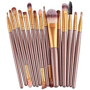 Voberry® Professionnel Style Populaire 15 pcs/set Pinceaux - Brosse de Maquillage / Brush Cosmétique Beauté & Make-up Manche en Bois Or