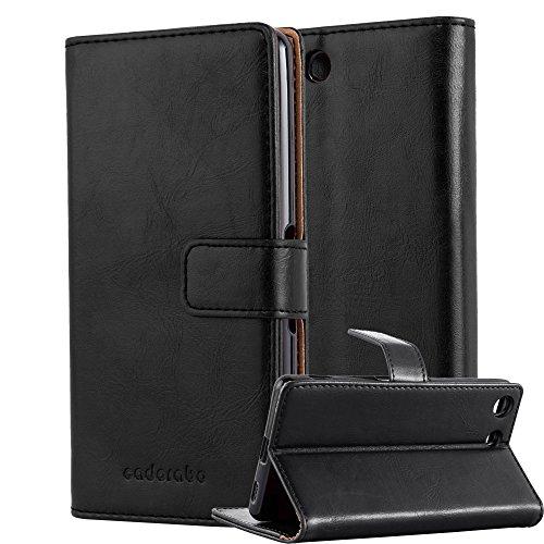 Cadorabo Hülle für Sony Xperia M5 - Hülle in Graphit SCHWARZ - Handyhülle im Luxury Design mit Kartenfach & Standfunktion - Case Cover Schutzhülle Etui Tasche Book