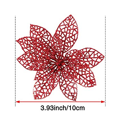 SATINIOR 20 Pieces Glitter Christmas Tree Ornaments Artificial Wedding Christmas Poinsettia Flowers for Festival Decoration