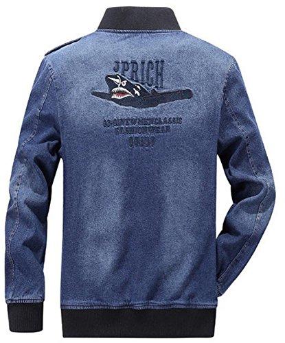 JZWXX Hommes Col De Baseball Usure Robuste Nonchalamment vent frais à vélo Année Trucker Veste en jean FR5522 Bleu