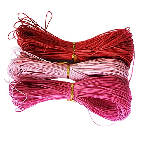 Meter Wachsschnur Wachsband Gewachste Baumwollkordel Wachskordel Schmuckband Baumwolle Seil Schnur Schmuck herstellung Armband 1mm - Rot + Rosa + Rose Rot, 3 Stück 80 Meter ()