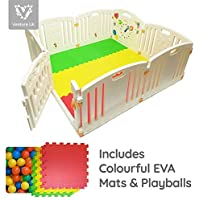 NEW Venture ALL STARS Baby Playpen   8 Pcs Including Fun Activity Panel   Fitted Floor Mats And 200 Bright Coloured Play Balls   Strong And Duable - Made From High Quality Non-Toxic Materials