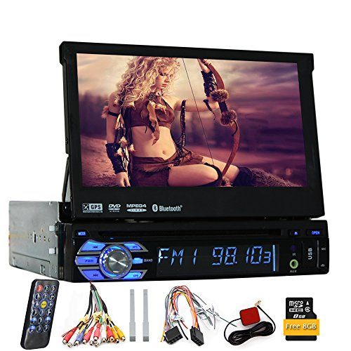 7-Zoll-Autoradio Einzel 1din Autoradio mit GPS Navigation abnehmbarem Panel HD Digital Touch Screen-Monitor Bluetooth Auto-DVD-Player + USB / SD Aux Subwoofer Fernbedienung durch Eincar (Flip-autoradio)