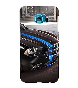 Fuson Premium Back Case Cover Stylish Black car With blue Background Degined For Samsung Galaxy S6 Edge+ G928::Samsung Galaxy S6 Edge Plus G928F