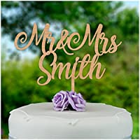 Mr and Mrs Wedding Cake Topper PERSONALISED Rustic Cake Decorations - Personalise with ANY SURNAME - Mr And Mrs Wedding Cake Decoration - Bride Groom Him Her Wedding Cake Decorations - Made from 4mm Cherry or 3mm MDF Wood