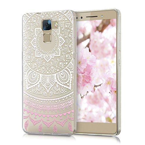 kwmobile Huawei Honor 7 / Honor 7 Premium Hülle - Handyhülle für Huawei Honor 7 / Honor 7 Premium - Handy Case in Rosa Weiß Transparent