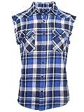 SOOPO Herren Ärmellose Kariert Flanell Hemden Freizeithemd aus Baumwolle Sleeveless T-Shirt(blau&weiß,M)