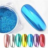 Mitlfuny Karnevals Make-up Fastnacht & Mottopartys,Flow Gold Spiegelpulver Chromeffekt Nagellackfolie Nagelkunst Glitter Silber
