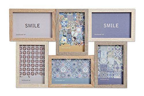 WOMA Bilderrahmen Collage Holz - Fotocollage aus Holz in 2 Größen für mehrere Fotos - 6 Fotos á 10 x15 cm - Holz Collage Für Deine Ganz Persönliche Bildergalerie - Bilder Rahmen In 3 Braun tönen