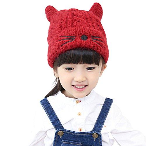 Amorar Kind Katze Deckel Winter Warm Elastizität Strickmütze Woolen Garn Gestrickt Hut