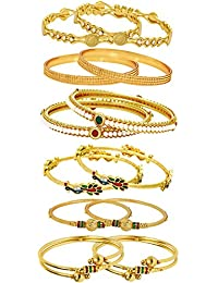 Jewels Galaxy Combo of Designer Victoria Bangles, Pearls Bangles, Trendy Gold Plated and Coinage Bangles - Pack of 12