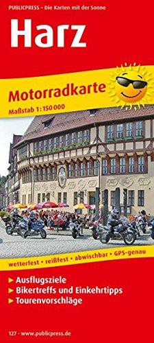 Motorradkarte Harz: Mit Ausflugszielen, Einkehr- & Freizeittipps und Tourenvorschlägen, wetterfest, reissfest, abwischbar, GPS-genau. 1:150000 (Motorrad-karten)