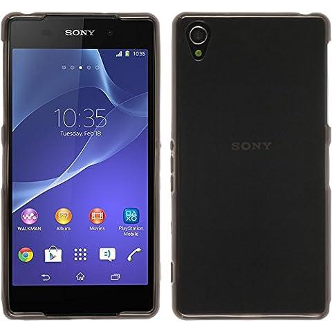 Coque en Silicone pour Sony Xperia Z2 - transparent noir - Cover PhoneNatic Cubierta + films de