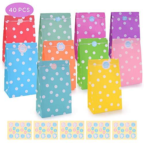 FORMIZON 40 Papier Candy Tüten Partytüten Set, Bunt Geschenktüten mit Stickern zum Geburtstag Klein Candy Tüten - Ideal für die Geburtstagsfeier Babyparty Hochzeit Geschenk Papiertasche, Deko Taschen