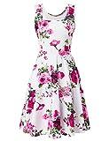 uideazone Damen Blumen Muster Rundhals Casual ärmelloseskleid Kleider