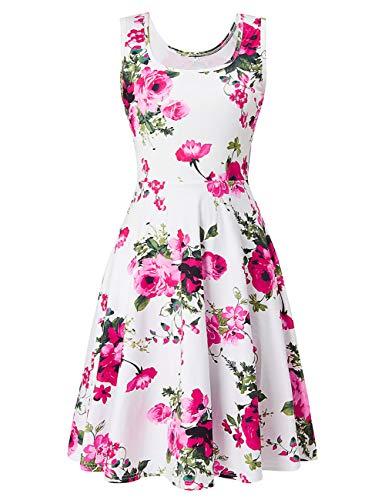 Runde Kostüm Ball Muster - uideazone Damen Blumen Muster Rundhals Casual ärmelloseskleid Kleider