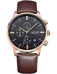 Megir Fashion Cronógrafo luminoso reloj de pulsera impermeable, Relojes Cuarzo para Hombre Mans de piel con función de calendario