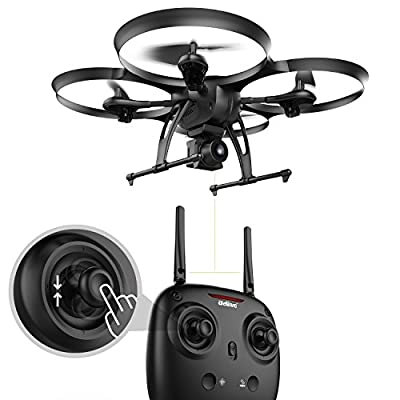 DROCON Traveler U818A Plus - FPV Camera Drone with Altitude Hold - Quadcopter with Wide Angle 720P HD Optical Anti-Shake Camera Easy Selfie - 15 Minutes Flying Time - TF Card & Card Reader Included