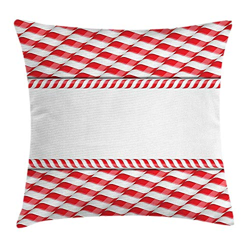 Candy Cane Throw Pillow Cushion Cover, Horizontal Border Design with Abstract Traditional Food Pattern Taste of Xmas, Decorative Square Accent Pillow Case, 18 X 18 inches, Red White Sectional Candy