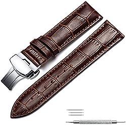 omyzam Correa de Reloj Cuero Genuino del Becerro Correa de Repuesto Pulsador Mariposa Deployant Clasp Ajuste para Reloj Tradicional, Reloj Deportivo o Reloj Inteligente 16mm Marrón