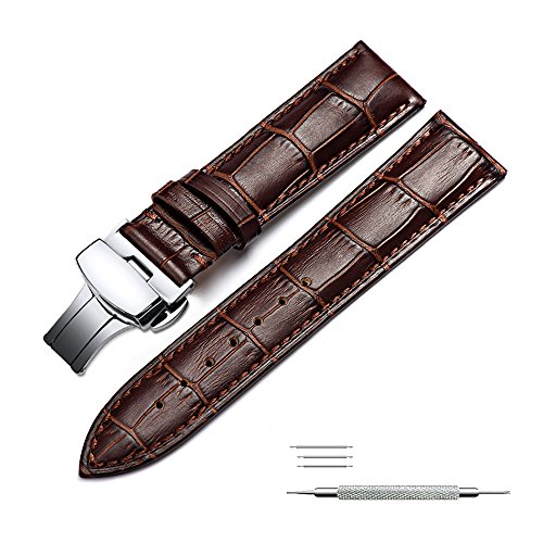 Watchband Calf Leather Strap Replacement Butterfly Push Button Deployant Clasp Fit for Traditional Sports Smart Watch 20mm Brown