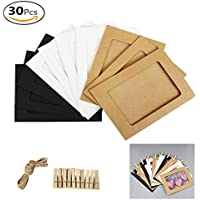 30 de papel Kraft marco de fotos DIY colgar en la pared marcos de fotos con 30 clips & 3 piezas 2 m de alambre para colgar fotos organizador decoraciones de pared (Blanco, Negro, papel de color original Kraft)