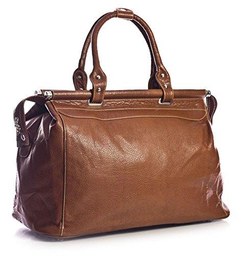 Big Handbag Shop Borsone bagaglio a mano Borsa da viaggio in pelle sintetica in volo Medium Tan (BH365)