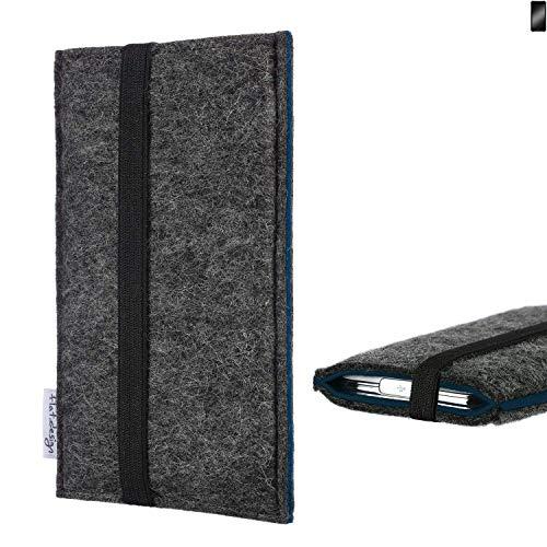flat.design Handyhülle Lagoa für Cyrus CS 22 | Farbe: anthrazit/blau | Smartphone-Tasche aus Filz | Handy Schutzhülle| Handytasche Made in Germany