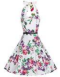 Zarlena Damen Rockabilly Kleid Petticoat Cocktailkleid Neckholder Blumen Floralmuster Weiß/Rot-Violettes Floralmuster L DROD-PRP-L