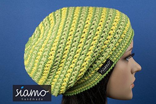 Longbeanie DORSET Unisex grün-gelb gestreift Mikrofaser Häkel-Mütze von siamo-handmade