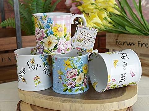 Set of 4 Katie Alice English Garden Porcelain Mixed Mug Collection